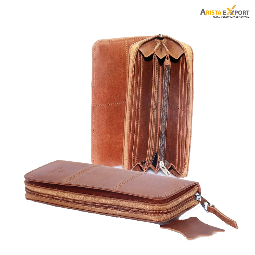 Lady/'s Wallet Genuine Leather-Brown